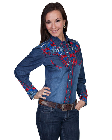 ba6c7632d7 Scully Women's Floral Embroidered Denim Western Shirt