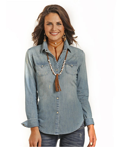 Womens Denim Snap Front Western Shirt