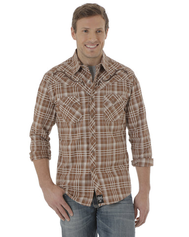 Men's Rock 47 Western Plaid Long Sleeve Shirt - Brown