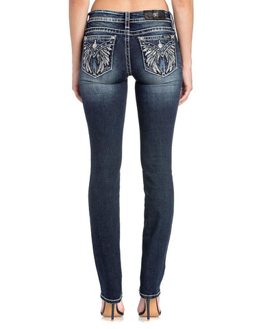 Women's Angel Wings Straight Leg Jeans