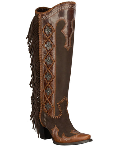 Womens Domingo Fringed Boots - Brown