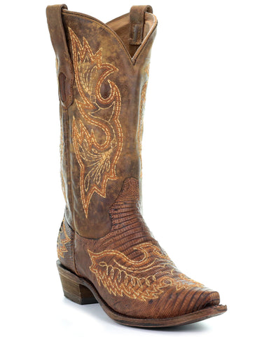 Men's Embroidered Lizard Boots