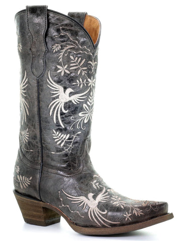 Kid's Embroidered Birds Western Boots
