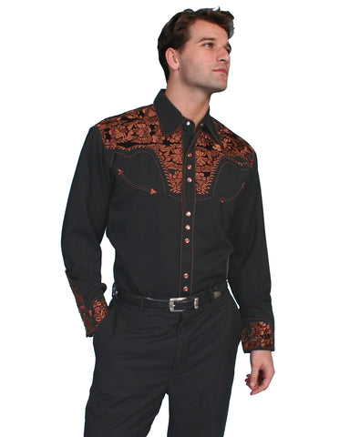 Mens Floral Embroidered Western Shirt - Black