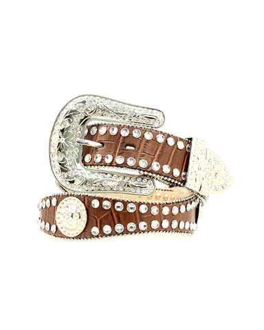 Womens Rhinestone Leather Belt - Brown
