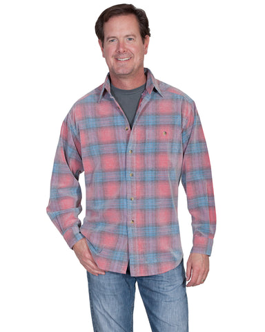 Mens Couduroy Plaid Western Shirt - Red