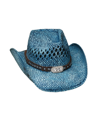 Womens Wild And Blue Straw Hat