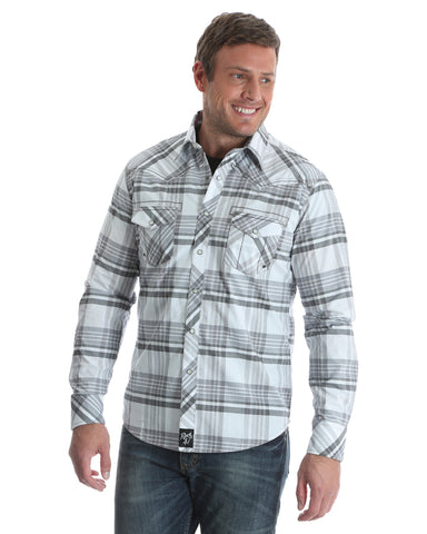 Mens Rock 47 Embroidered Plaid Long Sleeve Western Shirt - White