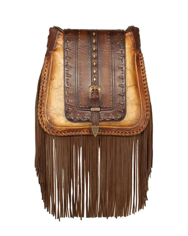 Womens Fringe With Studs Lambskin Purse - Brown