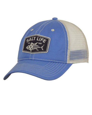 Salt Life Red White & Bluefin Mesh Ball Cap - Blue