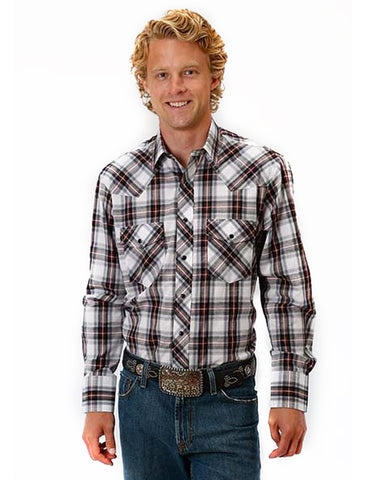 Mens Classic Long Sleeve Plaid Western Shirt - Red