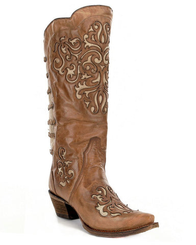 Women's Brown-Bone Inlay Boots
