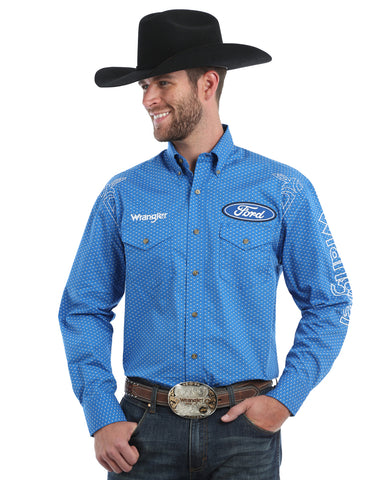 Men's Ford Logo Long Sleeve Western Shirt - Light Blue
