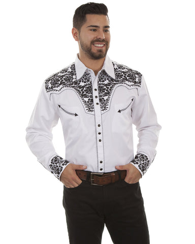 Mens Floral Embroidered Western Shirt - White & Black