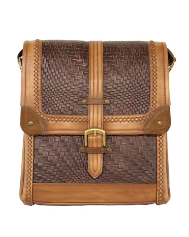 Men's Woven Leather Bag - Brown