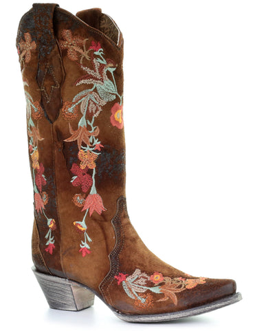Women's Floral Embroidered Lambskin Boots