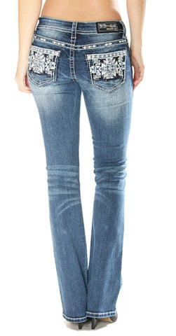 Womens Easy Fit Aztec Boot Cut Jeans