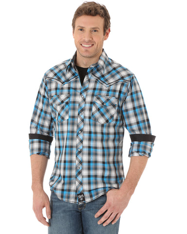 Men's Rock 47 Western Plaid Long Sleeve Shirt - Teal