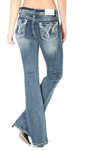 Womens Easy Fit Embroidered Boot Cut Jeans