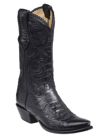 Men's Weston Python & Crocodile Boots - Black
