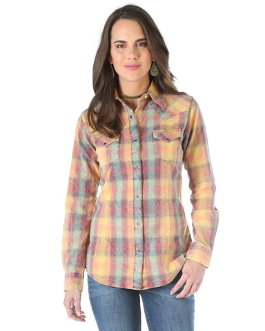 Womens Plaid Long Sleeve Western Shirt