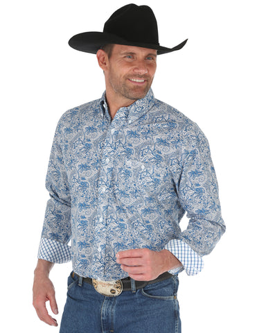 Men's George Strait Printed Poplin Western Shirt