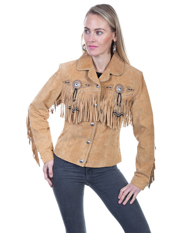 Women's Boar Suede Fringe Jacket - Rust