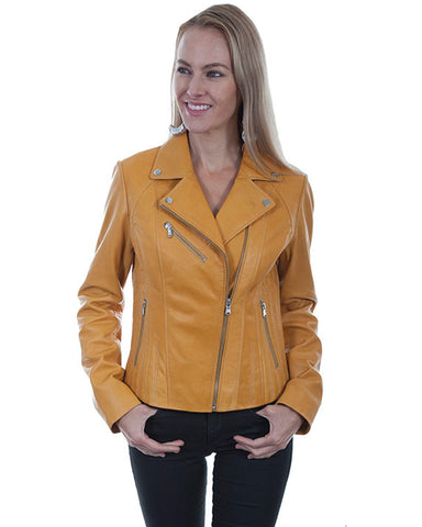 Women's Lambskin Motorcycle Leather Jacket - Butterscotch