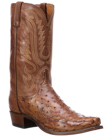 Mens Luke Full-Quill Square Toe Ostrich Boots