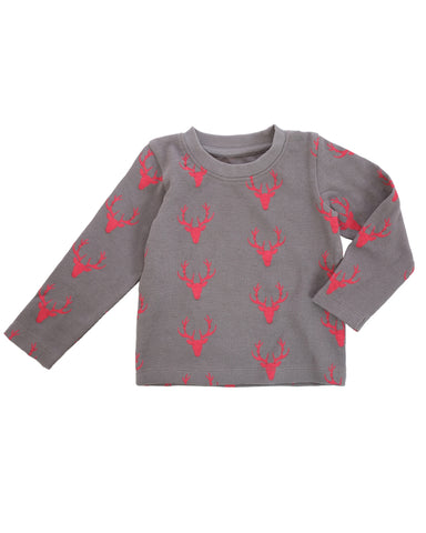 Kid's Antler Print Knit Thermal