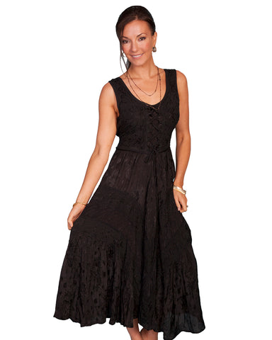 Women's Full Length Lace Front Dress - Black