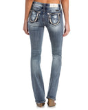 Womens Horseshoe Embroidered Boot Cut Jeans
