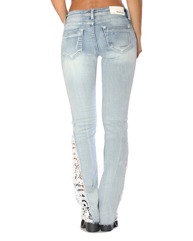 Womens Lace Cut Out Jeans