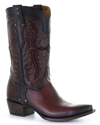 Men's Old West Embroidered Boots - Wine
