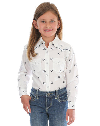 Girl's Horseshoe Print Western Shirt