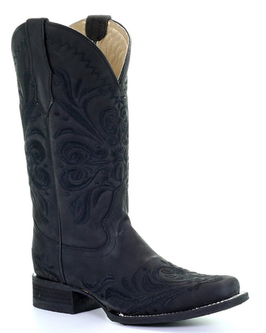 Women's Black Embroidered Western Boots