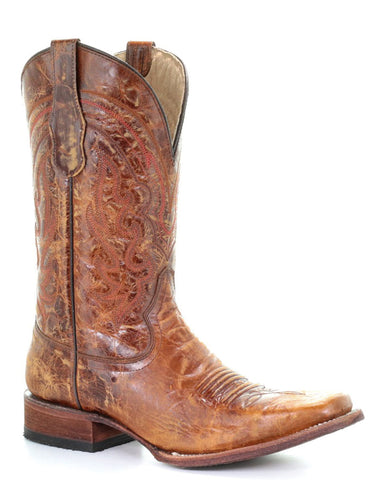 Men's Crackled Leather Western Boots - Orix