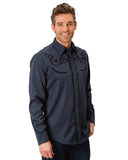 Men's Star Embroidered Long Sleeve Western Shirt