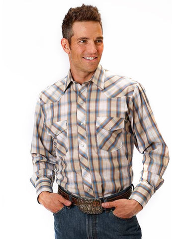 Men's Classic Long Sleeve Plaid Western Shirt - Tan