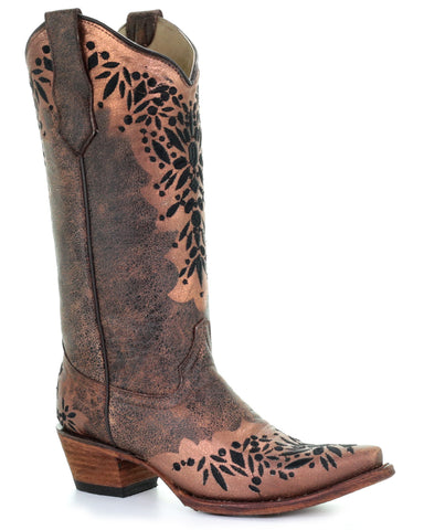 Women's Shedron & Black Embroidered Boots