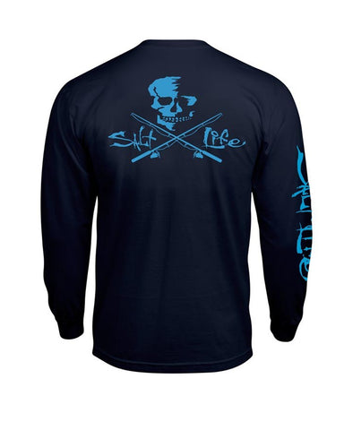 Men's Skull & Hooks Long Sleeve Shirt - Navy