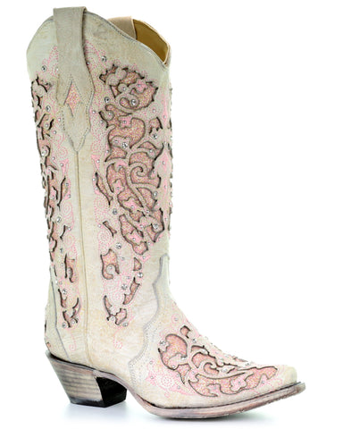 Womens Glitter & Crystals Boots - White & Pink