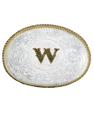Engraved Initial W Medium Oval Buckle
