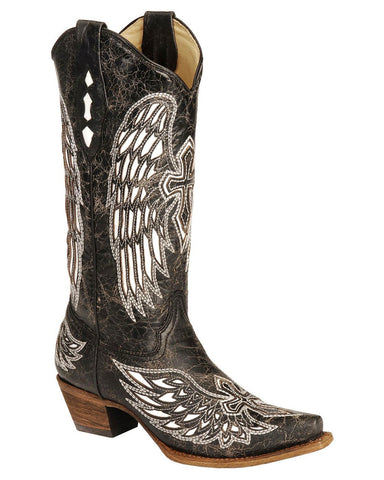 Women's Wing & Cross Snip-Toe Boots - Black
