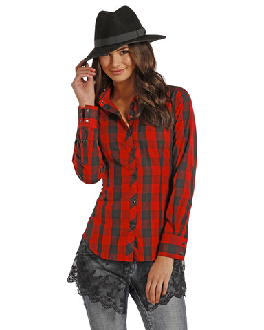 Women's Poplin Gingham Check Western Shirt