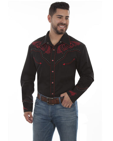 Mens Embroidered Stylized Scrolling Western Shirt
