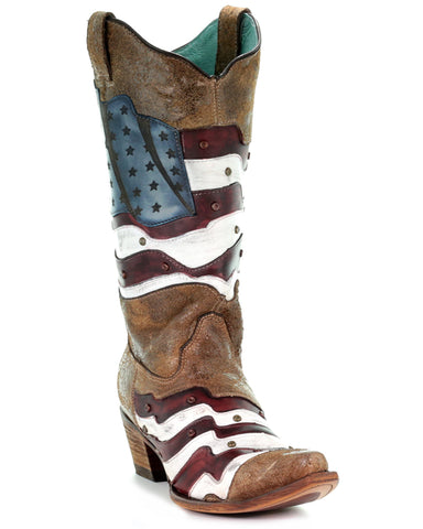Women's US Flag Laser Boots