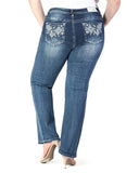 Womens Embellished Plus Size Straight Leg Jeans