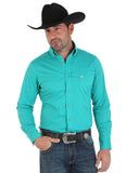 Men's Performance Long Sleeve Western Shirt - Green