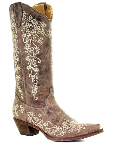 Womens Crater Bone Embroidery Boots